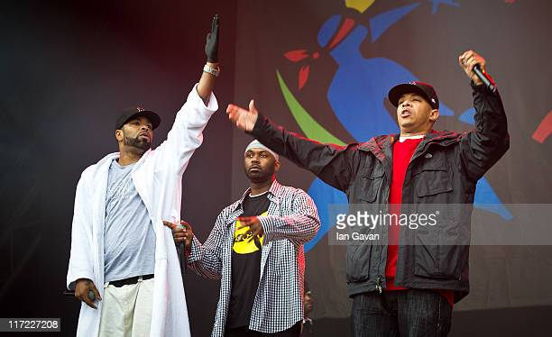 Wu Tang Clan perform live on the pyramid stage during the Glastonbury Festival at Worthy Farm Pilton on June 24 2011 in Glastonbury England The...