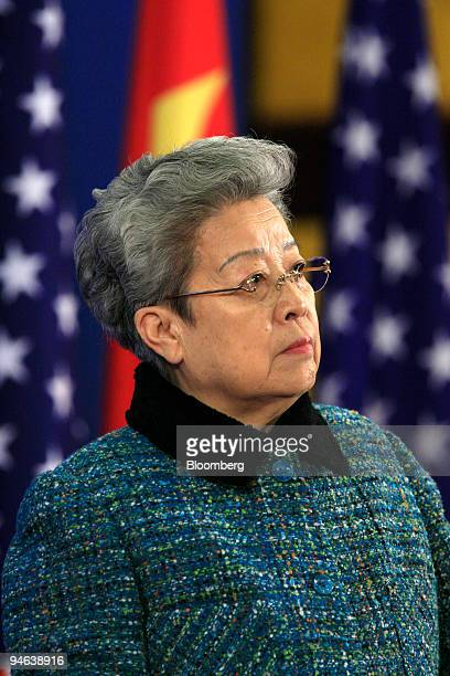 Wu Yi vicepremier of China looks during the issuing of a joint statement by China and the United States at the Third ChinaUS Strategic Economic...