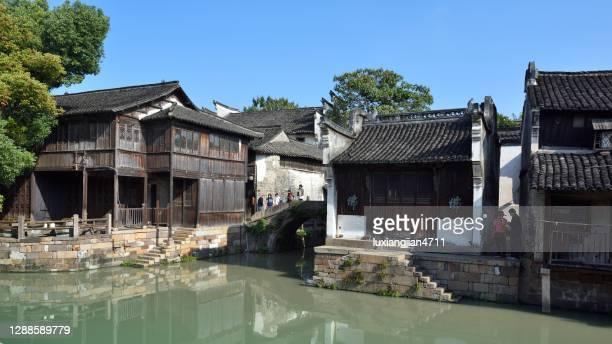 wu zhen città antica - zhejiang foto e immagini stock