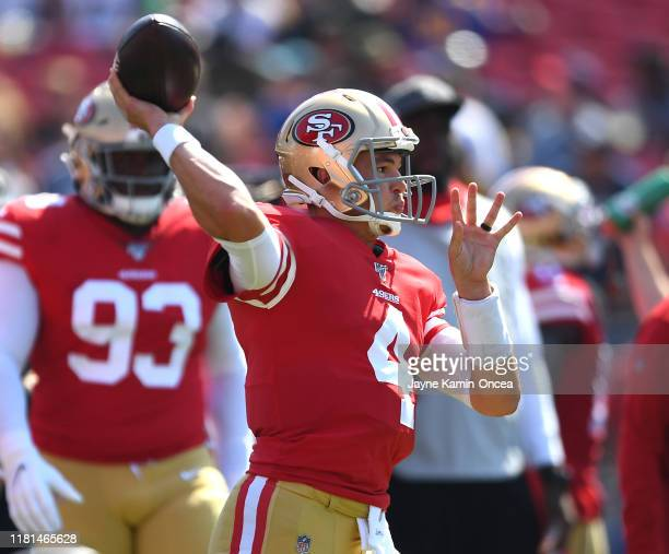 Wuarterback Nick Mullens of the San Francisco 49ers warms up before the game against the Los Angeles Rams at Los Angeles Memorial Coliseum on October...