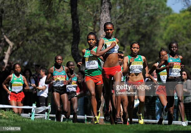 Wude Ayalew leads the race during the Senior Women's race during the 39th Iaaf World Cross Country Championships March 20 2011 in Punta Umbria Spain