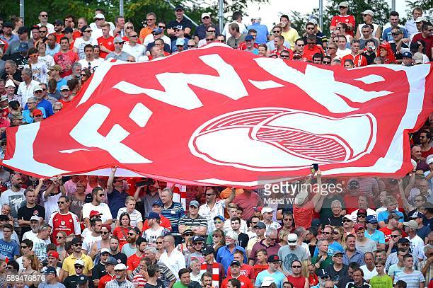 Wuerzburg fans show a banner during the Second Bundesliga match between FC Wuerzburger Kickers and 1 FC Kaiserslautern at flyeralarm Arena on August...