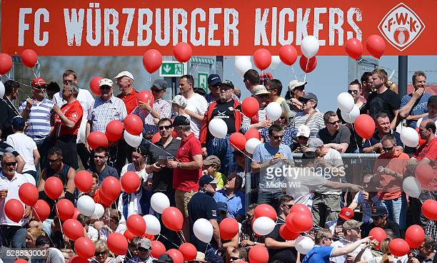 Wuerzburg fans with air ballons are pictured prior to the Third League match between Wuerzburger Kickers and Holstein Kiel at flyeralarm Arena on May...