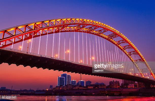wuhan arch bridge - wuhan stock photos and pictures