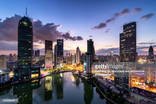 wuhan city financial center - hubei province stock pictures, royalty-free photos & images