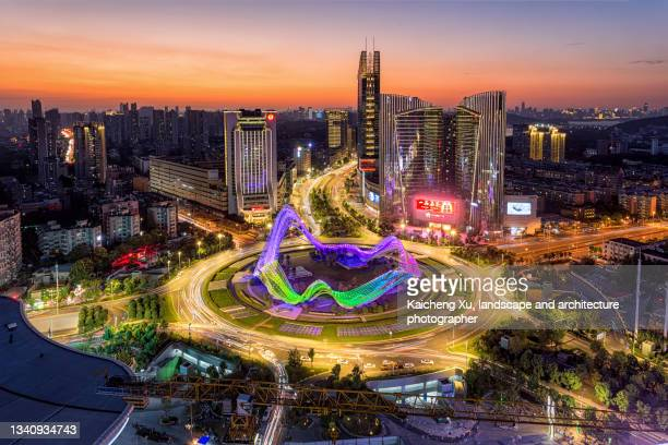 wuhan guanggu square - hubei province stock pictures, royalty-free photos & images