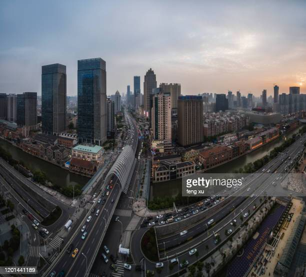 wuhan han street at dusk - wuhan city stock pictures, royalty-free photos & images