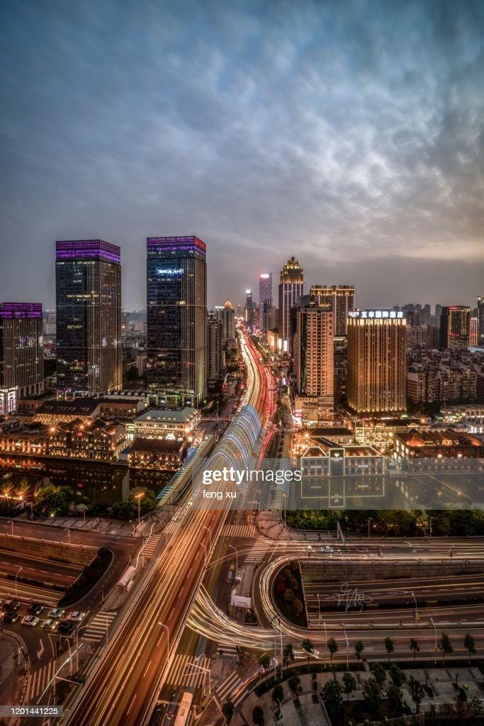 Wuhan han street at dusk : Stock Photo