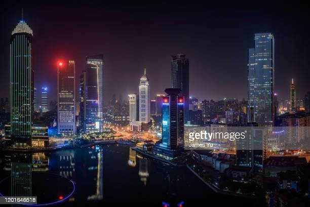 wuhan nightview - wuhan stock pictures, royalty-free photos & images