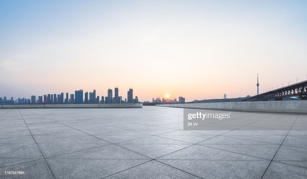 Wuhan urban architecture and Wuhan Yangtze River Bridge : Stock Photo