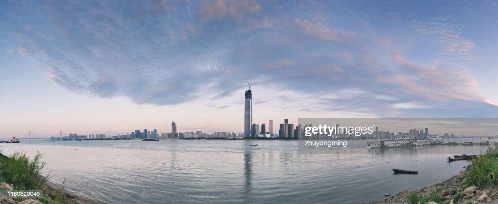Wuhan Urban Skyline Panoramic,Yangtze River : Stock Photo