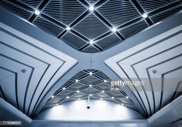 wuhan, wuhan metro station,modern roofed structure - ceiling stock pictures, royalty-free photos & images