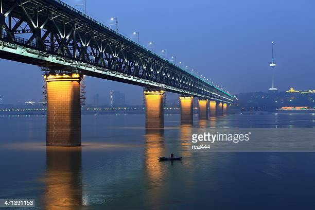 wuhan yangtze river bridge - wuhan city stock photos and pictures