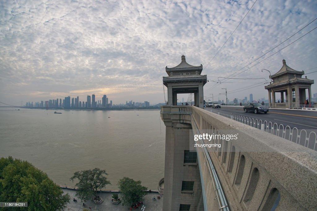 Wuhan Yangtze River Bridge,Hubei Province : Stock Photo