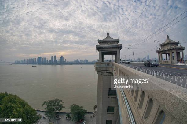 wuhan yangtze river bridge,hubei province - wuhan stock photos and pictures