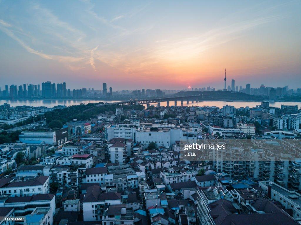 Wuhan Yellow crane tower sunset : Stock Photo