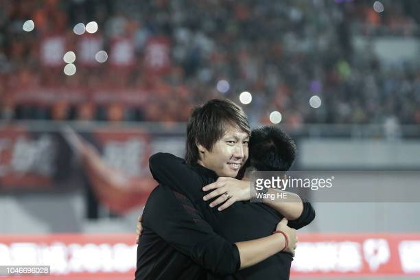Wuhan Zall coach Li Tie celebration upgrade to next season of China Football Association Super League after 2018 Chinese League match between Wuhan...