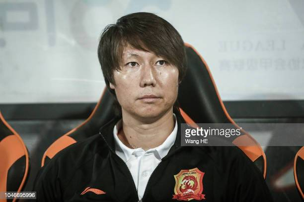 Wuhan Zall coach Li Tie reacts during 2018 Chinese League match between Wuhan Zall v Meizhou Meixian at Zhongnan University Of Economics And Law...
