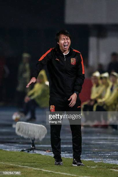Wuhan Zall coach Tie Li reacts during 2018 Chinese League match between Wuhan Zall v Meizhou Hakka at Zhongnan University Of Economics And Law...