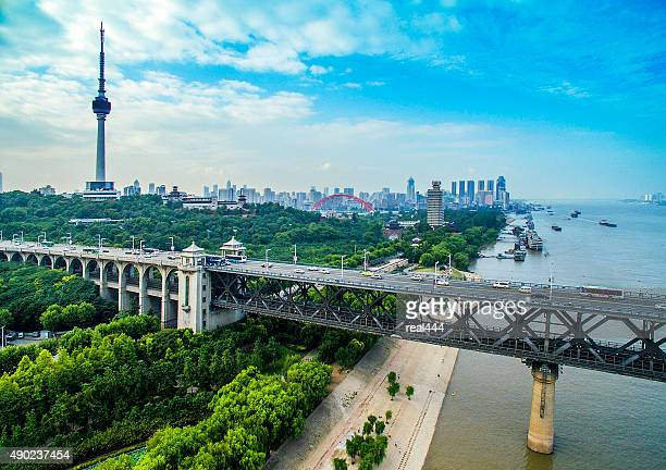 wuhanyangtze river bridge - wuhan stock photos and pictures