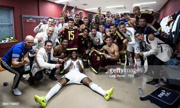 Wuilker Farinez of Venezuela celebrates with team mates after winning the FIFA U20 World Cup Korea Republic 2017 Semi Final match between Uruguay and...