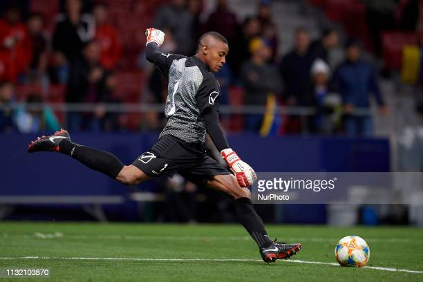 Wuilker Farinez of Venezuela does passed during the international friendly match between Argentina and Venezuela at Wanda Metropolitano Stadium in...