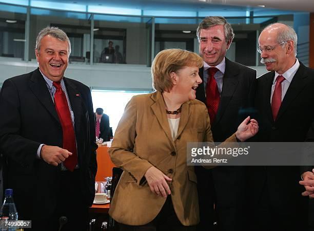 Wulf Bernotat CEO of EON AG German Chancellor Angela Merkel Harry Roels CEO of RWE AG and Dieter Zetsche CEO of DaimlerChrysler AG attend the third...