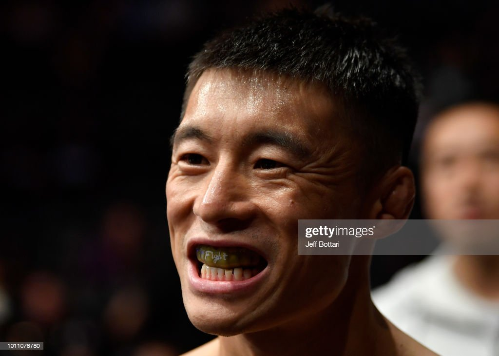Wuliji Buren of China prepares to fight Marlon Vera of Ecuador in their bantamweight fight during the UFC 227 event inside Staples Center on August 4, 2018 in Los Angeles, California.