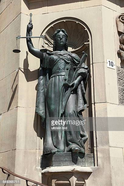 Wuppertal Elberfeld Town Hall administration building statue Lady Justice at the main portal goddess of justice sculptor Heinrich Guenther Gera