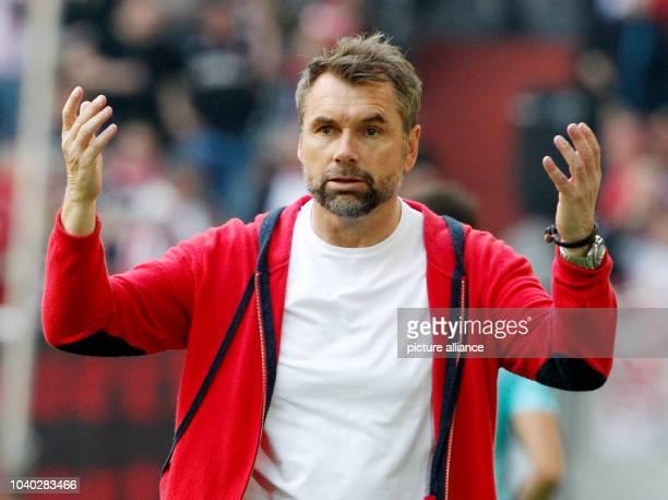 Wurzburg coach Bernd Hollerbach gestures during the German 2 Bundesliga soccer match between Fortuna Dusseldorf and Wurzburg Kickers at the ESPRIT...