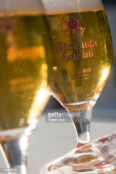 Wurzburger Hofbrau Pilsner beer glasses at Hotel-Restaurant Zur Sonne.