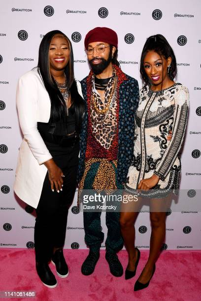Wuzzam Supa Ty Hunter and Lala Milan attend Beautycon Festival New York 2019 at Jacob Javits Center on April 07 2019 in New York City
