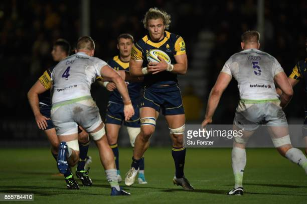 Wwarriors player David Denton in action during the Aviva Premiership match between Worcester Warriors and Saracens at Sixways Stadium on September 29...