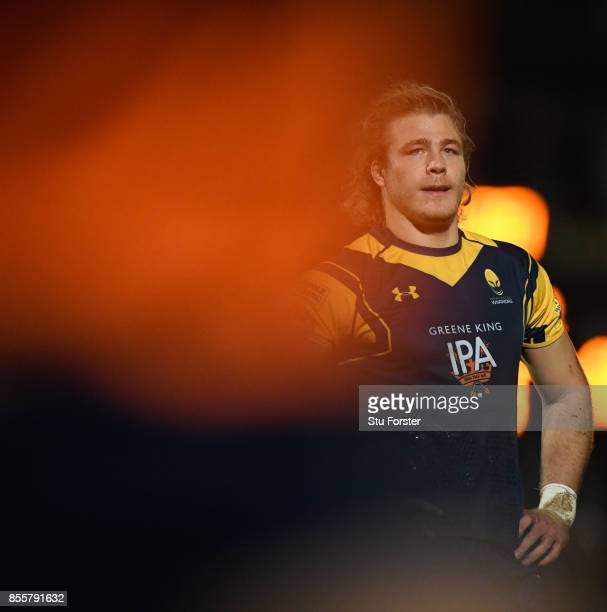 Wwarriors player David Denton reacts during the Aviva Premiership match between Worcester Warriors and Saracens at Sixways Stadium on September 29...