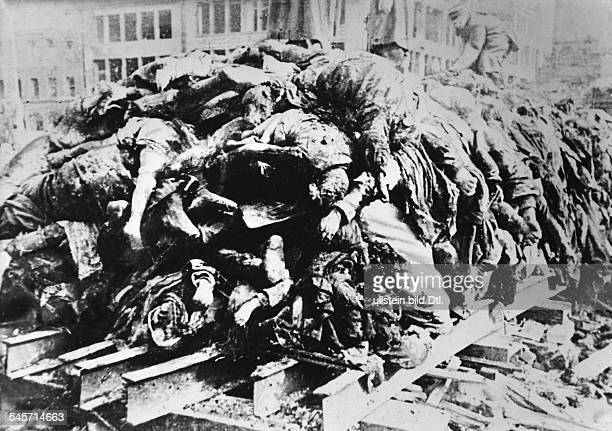 2 WWDresden bombing air attack on Dresden 13Dead bodies of victims piled up rady to incineration 16/