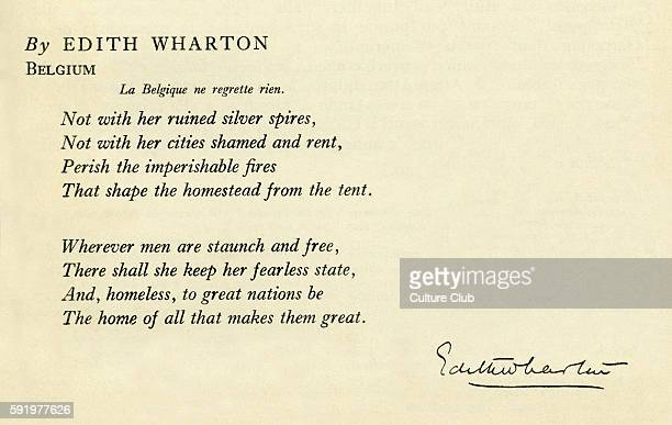 Wharton Edith 1914 Belgium 'La Belgique ne regrette rien Not with her ruined silver spiresÉÉ' Poem appears in a book in support of King Albert of...