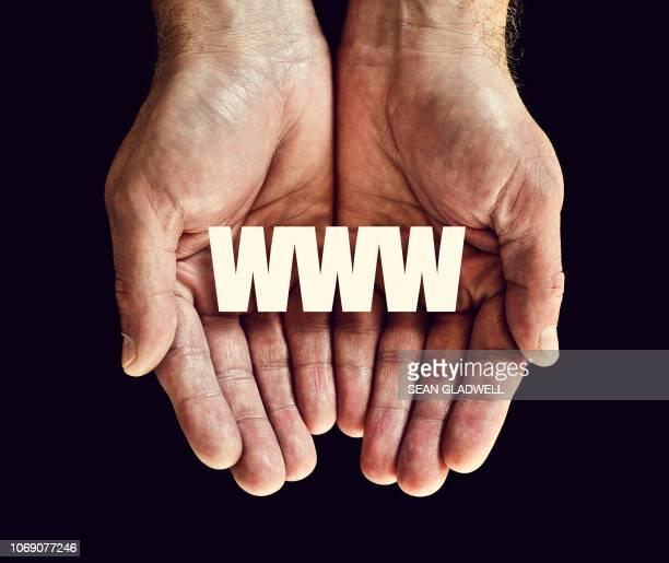 www in palm of hands
