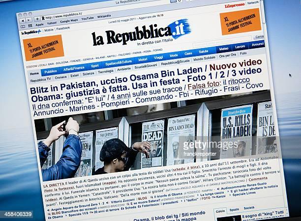 www.larepubblica.it announce the death of Osama Bin Laden