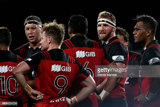 Wyatt Crockett and Kieran Read of the Crusaders look on during the round eight Super Rugby match between the Crusaders and the Sunwolves at AMI...
