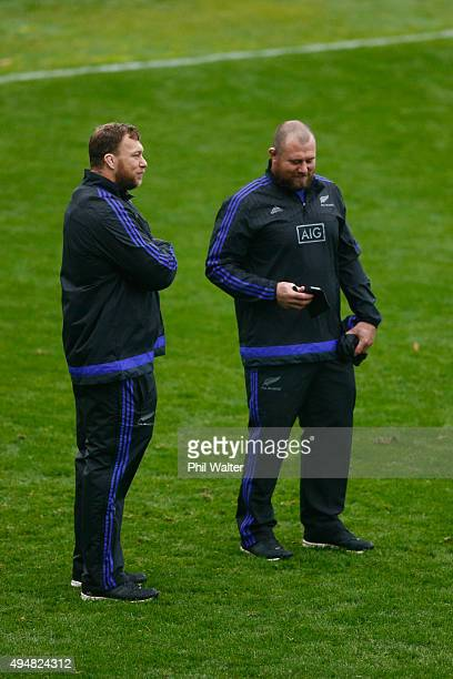 Wyatt Crockett and Tony Woodcock of the All Blacks look on during a New Zealand All Blacks training session on October 29 2015 in Bagshot United...