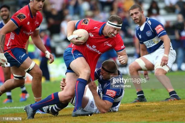 Wyatt Crockett makes a break during the Mitre 10 Cup Premiership Semi Finals match between Tasman and Auckland at Lansdowne Park on October 19 2019...