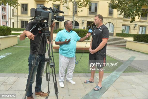 Wyatt Crockett of Crusaders speak to ENCA sports reporter Timothy Sibanda during the Crusaders Press Conference at Southern Sun Montecasino on March...