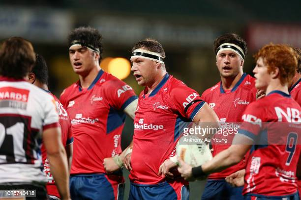 Wyatt Crockett of Tasman looks on during the round three Mitre 10 Cup match between North Harbour and Tasman at QBE Stadium on September 1 2018 in...