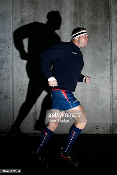 Wyatt Crockett of Tasman takes the field to warm up during the round seven Mitre 10 Cup match between Wellington and Tasman at Westpac Stadium on...