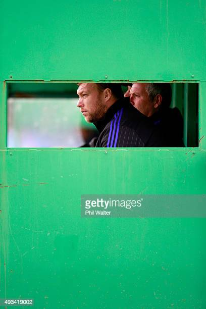 Wyatt Crockett of the All Blacks looks on during a New Zealand All Blacks training session at London Irish on October 20 2015 in London United Kingdom