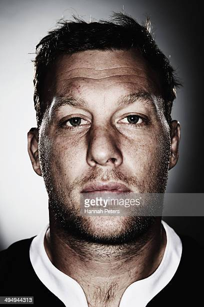 Wyatt Crockett of the All Blacks poses during a New Zealand All Blacks portrait session on May 26 2014 in Wellington New Zealand