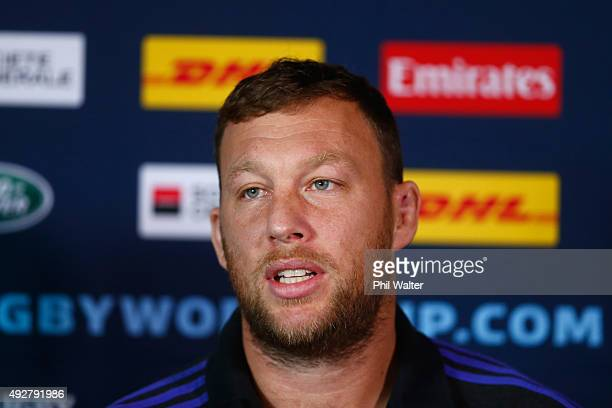 Wyatt Crockett of the All Blacks speaks during a New Zealand All Blacks team announcement at the Swansea RFC on October 15 2015 in Swansea United...