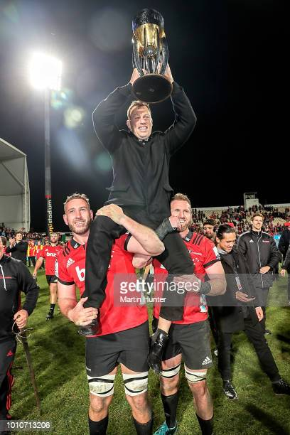 Wyatt Crockett of the Crusaders celebrates with team mates after the Super Rugby Final match between the Crusaders and the Lions at AMI Stadium on...