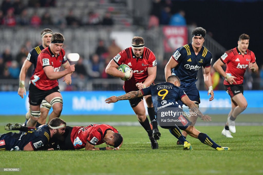 Wyatt Crockett of the Crusaders charges forward during the round 18 Super Rugby match between the Crusaders and the Highlanders at AMI Stadium on July 6, 2018 in Christchurch, New Zealand.