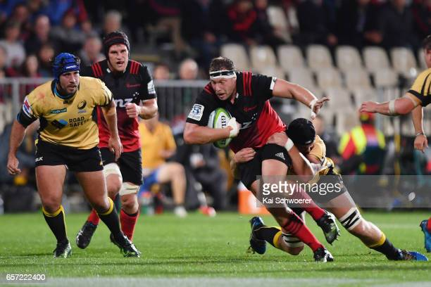 Wyatt Crockett of the Crusaders charges forward during the round five Super Rugby match between the Crusaders and the Force at AMI Stadium on March...
